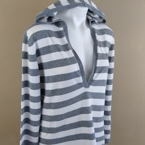 Chico's Gray/White Deep V Hooded Pullover Sz XL